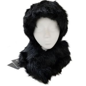 Adrienne Landau Faux Fur Hat & Collar Black NEW